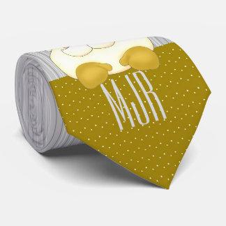 Cravate Or et argent Père Noël décoré d'un monogramme