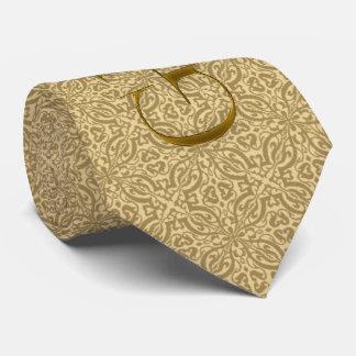 Cravate Or mariage damassé pour le marié