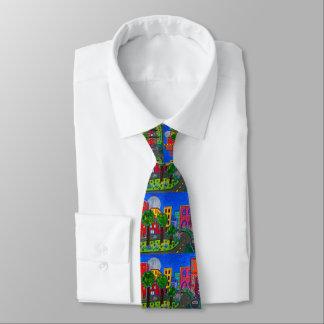 Cravate Paysage urbain urbain artistique coloré peint à la