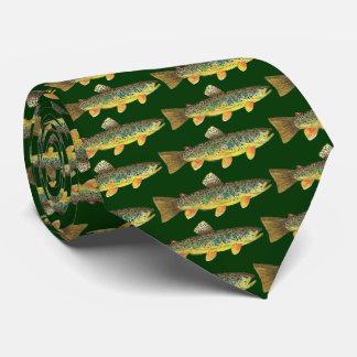 Cravate Pêche avant et arrière imprimée de truite de Brown