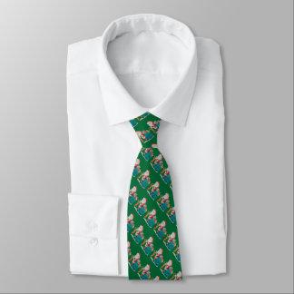 Cravate père Noël avec le sac vert et le Noël de cadeaux