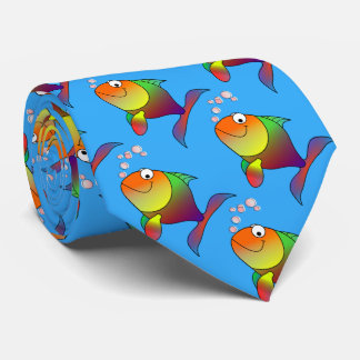 Cravate Poisson rouge joyeux mignon en mer, bleu-clair