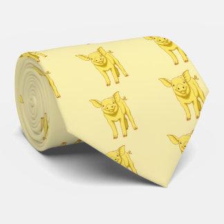 Cravate Porcelet mignon porc jour du 17 juillet jaune