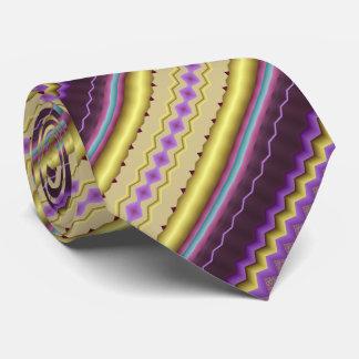Cravate Pourpre et motif diagonal de fractale d'or