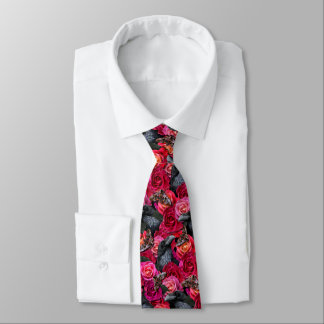 Cravate Raven gothique plus jamais avec des roses et des