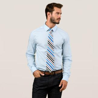 Cravate Rayures de gris de noir bleu