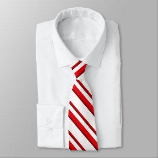 Cravate Rayures de sucre de canne, rouge de menthe poivrée