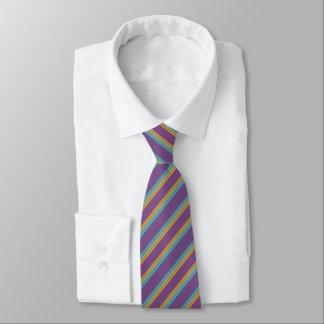 Cravate Rayures - jaune bleu pourpre