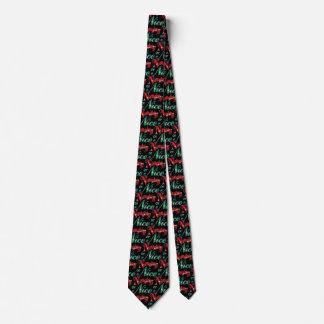 Cravate Rétros lettres vertes rouges de Noël, vilaines ou