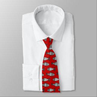 Cravate Rétros poissons modernes, rouge-foncé et gris/gris
