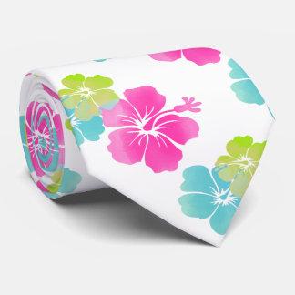 Cravate Rose/vert/ketmie bleue d'Aqua/floral hawaïen