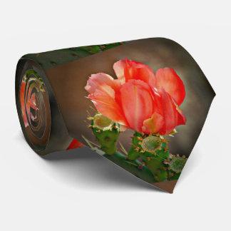 Cravate rouge de fleur de cactus