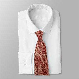 Cravate Rouge royal moderne de dentelle de poudre d'or de