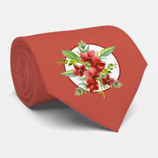 Cravate rouge tropicale de mariage d'aquarelle