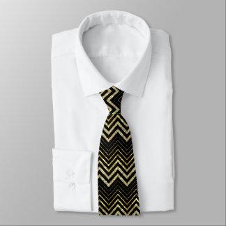 Cravate Scintillement d'or et motif de Chevron de zigzag