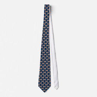 Cravate Shiba fonctionnant Inus sur le bleu