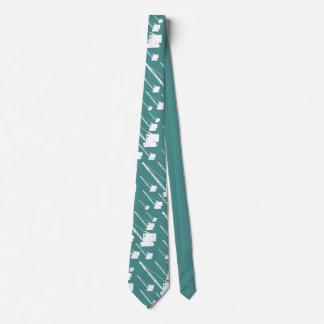 Cravate Silhouette blanche vintage de grue de chenille