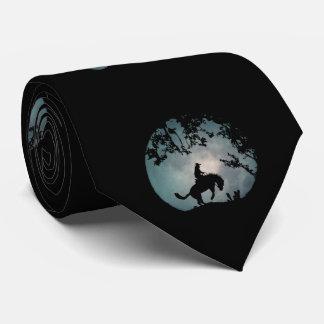 Cravate s'opposant de cheval, de cowboy et de lune