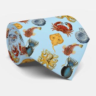 Cravate sous le poulpe de mer, coquilles, crabe. Bleu