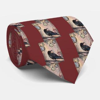 Cravate Steampunk Raven avec des horloges