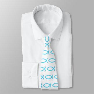 Cravate Symbole chrétien bleu de poissons d'Ichthus |