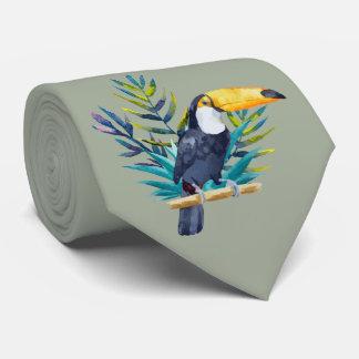 Cravate Toucan tropical dans les bleus sur le vert de