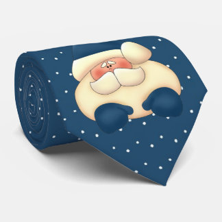 Cravate Vacances bleues de point de polka de Père Noël