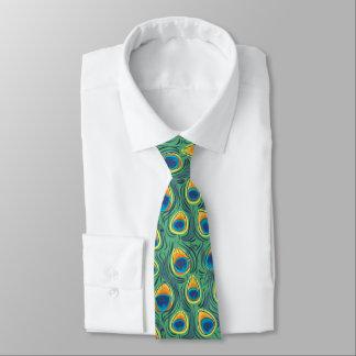 Cravate Vert exotique de bijou de motif de plume de paon