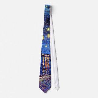 Cravate Vincent van Gogh - nuit étoilée au-dessus du Rhône