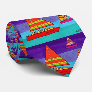 Cravate Voilier artistique coloré Boho d'océan d'aquarelle