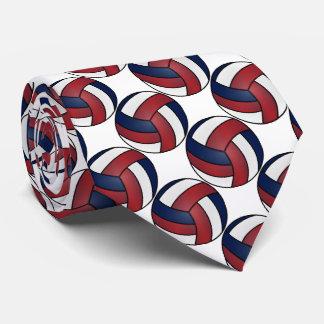 Cravate Volleyball blanc, rouge foncé et bleu-foncé de