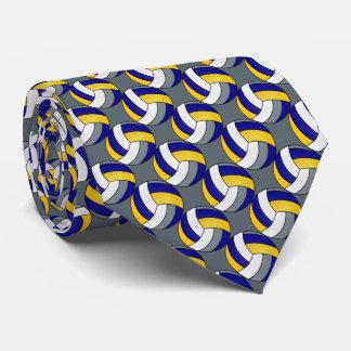 Cravate Volleyball bleu, blanc, jaune et gris sportif
