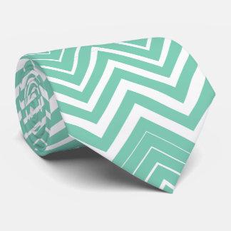 Cravate Zigzag Menthe-Vert et blanc Chevron