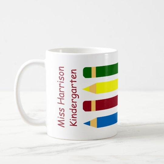 Crayons de jours d'école personnalisés mug blanc