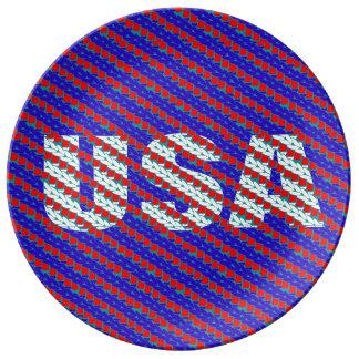 CraZchet Etats-Unis Assiettes En Porcelaine