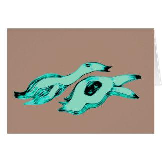 Créatures d'alien de mère et d'enfant carte de correspondance