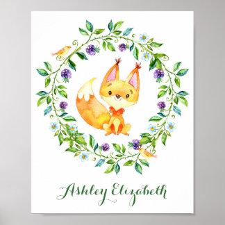 Crèche de Fox de région boisée d'aquarelle Poster