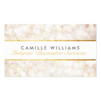 Crème élégante de bande d'or de motif ÉTHÉRÉ de Carte De Visite Standard