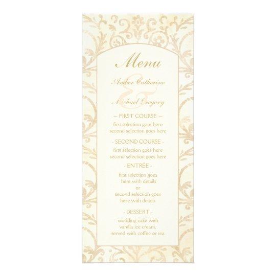 Crème florale de damassé et menu beige de mariage cartes doubles