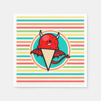 Crème glacée drôle de diable, rayures lumineuses serviette jetable