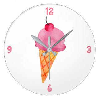 Crème glacée grande horloge ronde