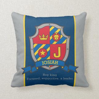 Crest le nom et les garçons de la lettre J Josiah Oreillers