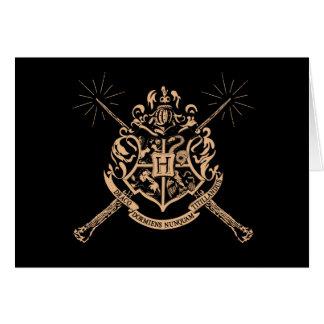 Crête de baguettes magiques croisée par Hogwarts Carte De Vœux