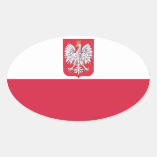 Crête polonaise de la Pologne Eagle Sticker Ovale