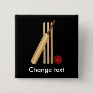 Cricket, guichet, batte et boule badge carré 5 cm