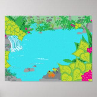 Crique ensoleillée avec l'affiche de grenouilles poster