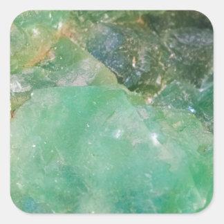 Cristal de quartz vert d'absinthe sticker carré