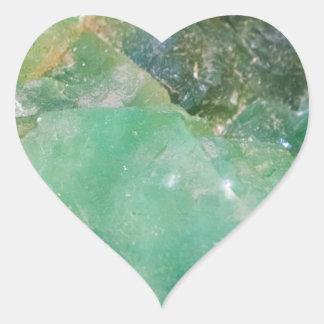 Cristal de quartz vert d'absinthe sticker cœur