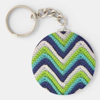 Crochet bleu Chevron Porte-clé Rond