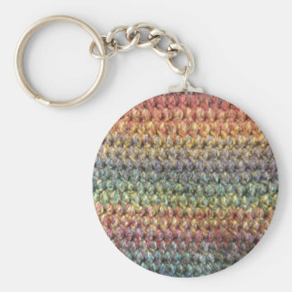 Crochet tricoté rayé multicolore porte-clé rond